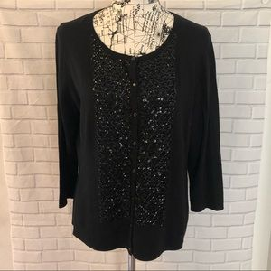 NWT Talbots black beaded sequin cardigan silk